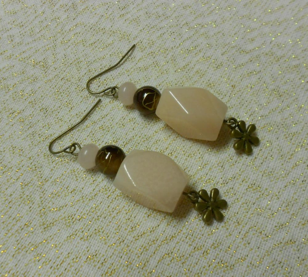 Pink Aventurine and Pink Opal Earrings in Bronze