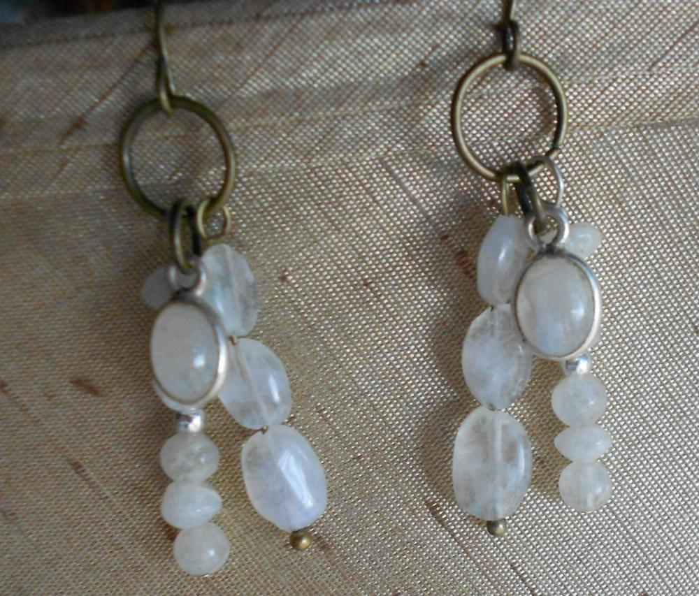Rainbow Moonstone Drops Earrings