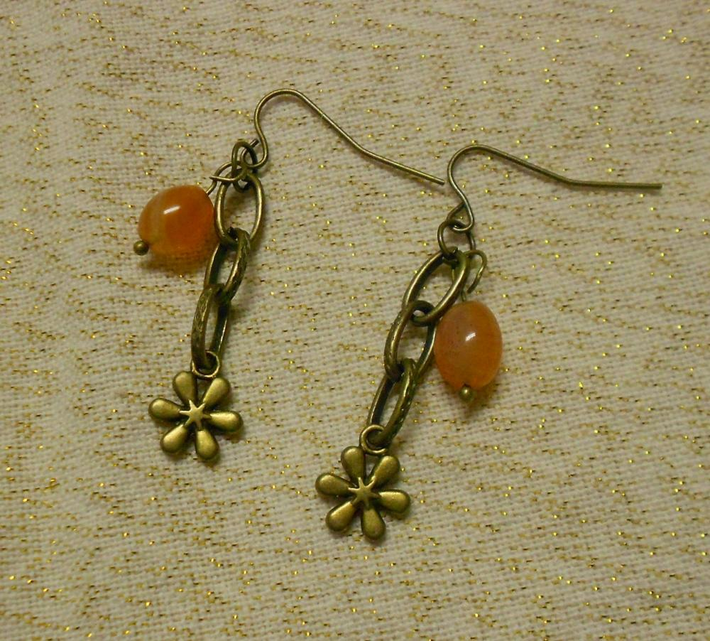 Carnelian Jelly Bean Chain Earrings