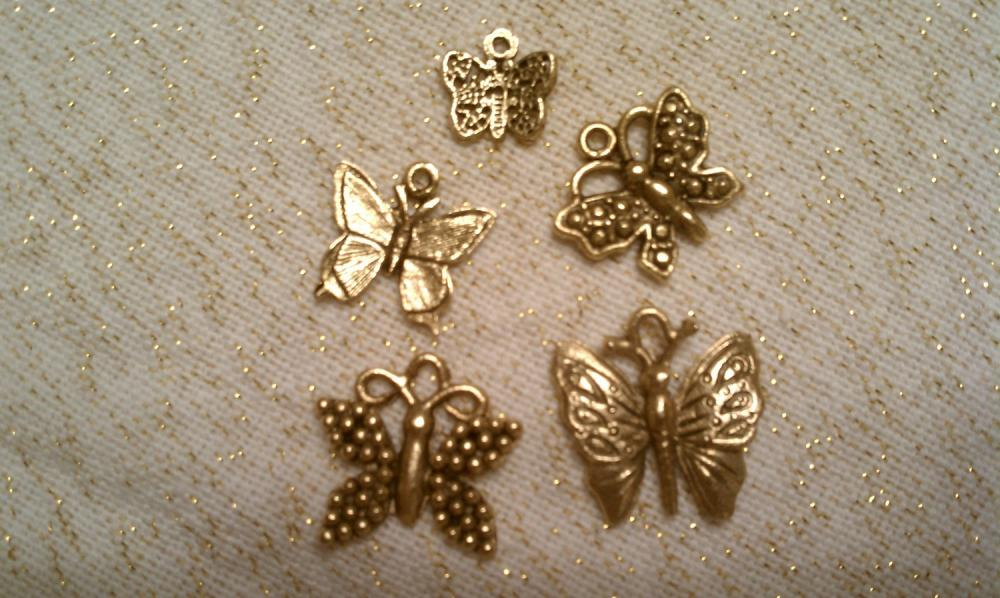Gorgeous Antique Gold Butterfly Charm Set