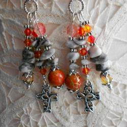 Gemstone Cross Earrings OOAK