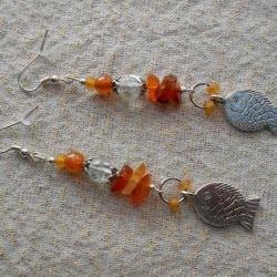Carnelian Goldfish Earrings for Summer