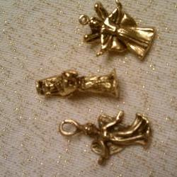 Gorgeous Antique Gold Angel Trio