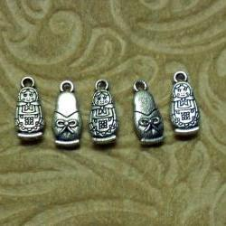 Five Matryoshka &quot;Stacking Doll&quot; Silver Charms with Two Free Earring Hooks
